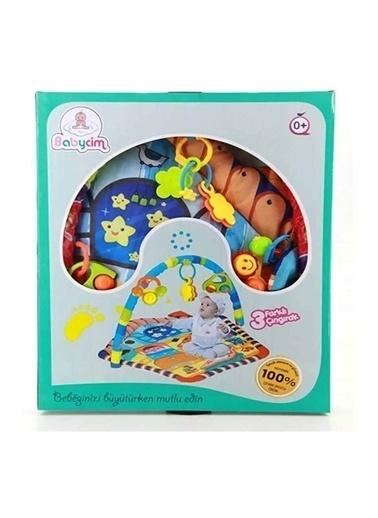 Babycim Babycim Aynalı Müzikli Çıngıraklı Eğitici Beşgen Renkli Bebek Oyun Halısı Beyaz